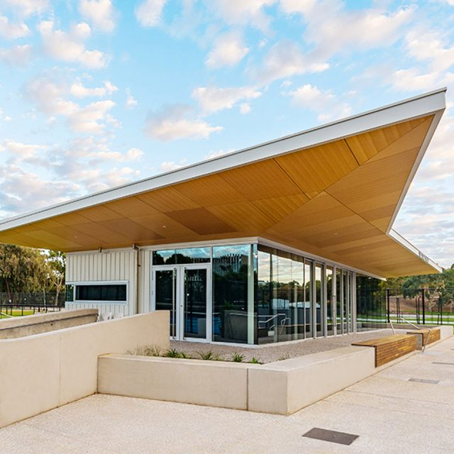 Wide shot of Memorial Drive Tennis Centre built by Kennett for Tennis SA.