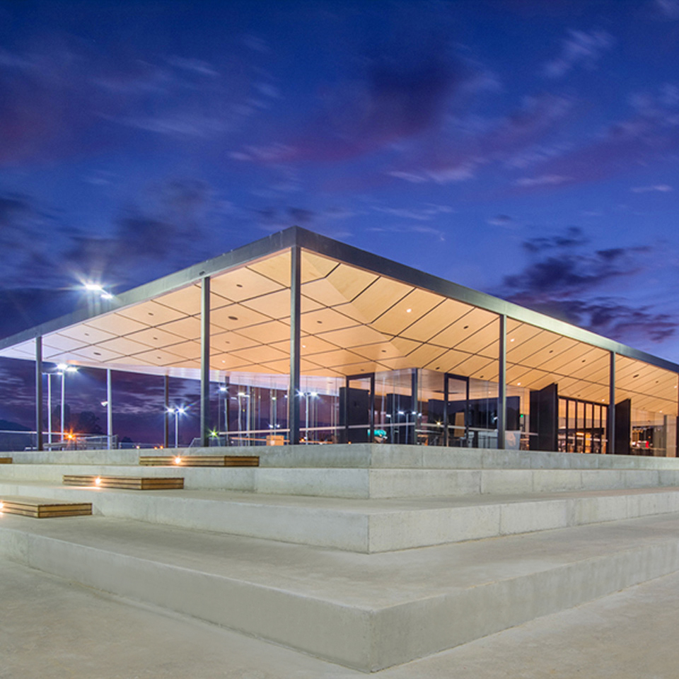 Wide shot of the upgraded Playford Tennis Centre for the City of Playford